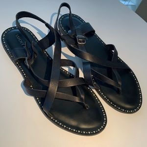 Lucky Brand black leather Sz 11 Adinis sandals
